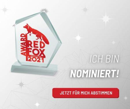 Nominierung RED FOX Award 2021. Jens Möller ist als Experte im Bereich Persönlichkeitsentwicklung nominiert.